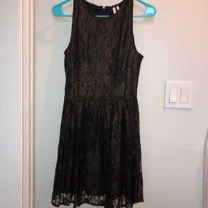 Black Dress with Gold Lace